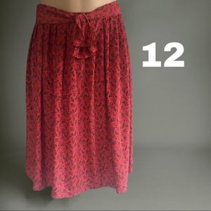 Vintage 2Pc Skirt and Sash Floral Red